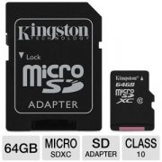 64 GB Kingston MicroSDXC kártya class 10 + SD adapter