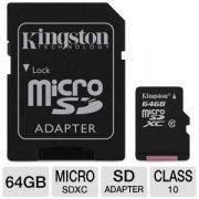 64 GB Kingston MicroSDXC kártya class 10 + SD adapter